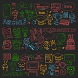 Blackboard Vector doodle set Children language school Kindergarten kids Pattern with doodle kids drawing style icons Stock Photo