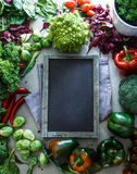Blackboard with vegetables Royalty Free Stock Photo