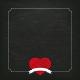 Blackboard Vintage Heart Ribbon Royalty Free Stock Photography