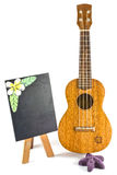 Blackboard and vintage ukulele. On white Stock Photos