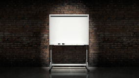 Blackboard on wall Brick mortar background. Design made in 3D Stock Photos