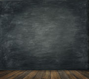 Blackboard Wall Wood Floor Background, School Black Board. Wooden Classroom Interior Stock Images