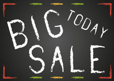 Blackboard with white chalk text Big sale today Stock Photography