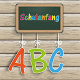 Blackboard Wood ABC Schulanfang. Green school board. German text Schulanfang, translate Back to School Stock Illustration