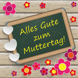 Blackboard Wood Muttertag Flowers Stock Images