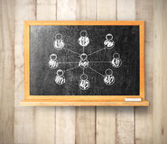 Blackboard on wooden Stock Images