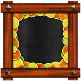 Blackboard with Wooden Frame and Fruit Royalty Free Stock Image