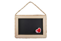 Blackboard with wooden frame isolated on white background Stock Image