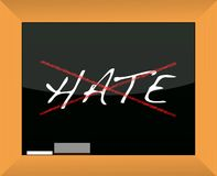 Blackboard with the word hate cross out Royalty Free Stock Photo