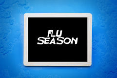 Blackboard with words 'flu season' Royalty Free Stock Photos