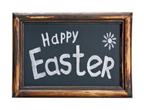 Blackboard with the words happy easter Royalty Free Stock Image