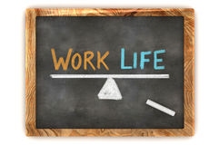Blackboard Work Life Balance. A Colourful 3d Rendered Concept Illustration showing a balance between work and life, written on a blackboard Royalty Free Stock Image
