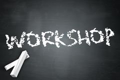 Blackboard Workshop. Blackboard Illustration with Workshop wording Stock Image