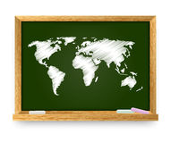 Blackboard with world map Royalty Free Stock Photos