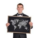 Blackboard with world map Stock Photo