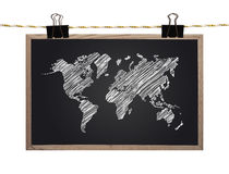 Blackboard with world map Royalty Free Stock Image
