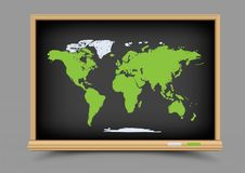 Blackboard world map lesson Stock Images