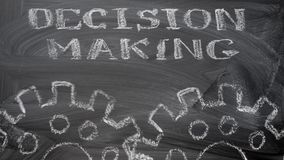Decision making. The blackboard writing with chalk and the concept of business, the text `Decision making`, and animation rotation of the two chalk silhouette stock video footage