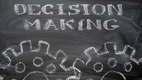 Decision making. The blackboard writing with chalk and the concept of business, the text `Decision making`, and two chalk silhouette drawing gears Stock Image