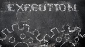 Execution. The blackboard writing with chalk and the concept of business, the text `Execution`, and two chalk silhouette drawing gears Stock Photo