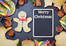 Blackboard for writing greetings and ingredients for cooking Royalty Free Stock Photos