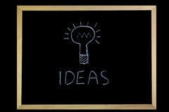 Blackboard Writing. Word ideas and lightbulb written on a blackboard with chalk Stock Image