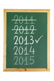 Blackboard with Years Royalty Free Stock Images