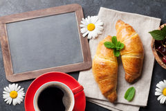 Blackboard for your text, croissants and coffee Stock Photography