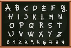 Blackboard z listami i liczbami Zdjęcie Stock