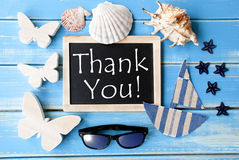 Blackboard Z Morską dekoracją I tekst Dziękujemy Was obrazy stock