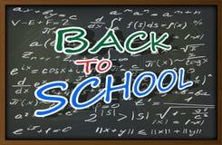 Blackboard z powrotem z matematycznie formułami i inskrypcja szkoła Zdjęcia Royalty Free
