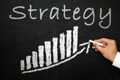 Blackboard z ręcznie pisany strategia tekstem Kierunku i sukcesu pojęcie Obraz Royalty Free