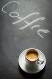 Blackboard z słowami kawa i kawa espresso Zdjęcie Stock