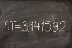 blackboardnummer pi Fotografering för Bildbyråer