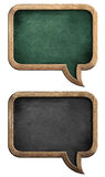 Blackboards or chalkboards set in shape of speech bubble. Isolated on white with clipping path included stock images