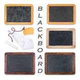Blackboards with crayon, sponge and rag Royalty Free Stock Images