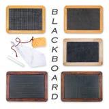 Blackboards with crayon, sponge and rag. Different old blackboards with crayon royalty free stock images