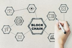Free Blackchain Network Icons And Hand Royalty Free Stock Image - 121814726