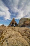 Blackchurch rock, Hartland North Devon. The stunning Blackchurch rock which can be found on Mouthmill beach on the north Devon coast. It is located between royalty free stock images
