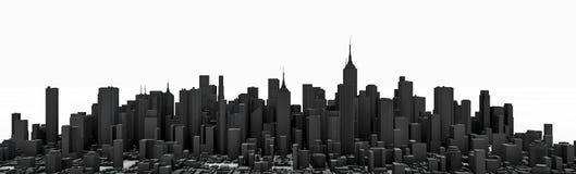 Blackcity panorama. 3D render of modern city panorama in black Royalty Free Stock Photo