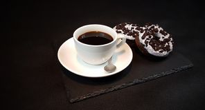 Blackcoffee blackplate teaspoon donuts Oreo Stock Photo