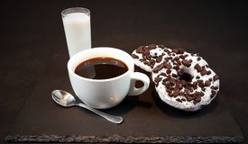 Blackcoffee milk whitecup donuts Oreo doughnuts Royalty Free Stock Image