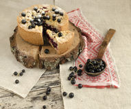 Blackcurrant crumble on wooden stump Royalty Free Stock Photos