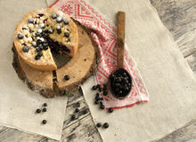 Blackcurrant crumble on wooden stump, view from top Royalty Free Stock Photography