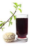 Blackcurrant drink and marshmallow Royalty Free Stock Image