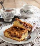 Blackcurrant and hazelnut crumble cake stock photography