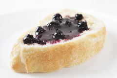 Blackcurrant Jam on Bread Stock Photos