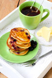 Blackcurrant pancakes Royalty Free Stock Images