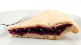 Blackcurrant pie. A slice of blackcurrant pie on a plate with a fork Royalty Free Stock Photos