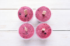 Blackcurrant popsicles, top view Stock Photo